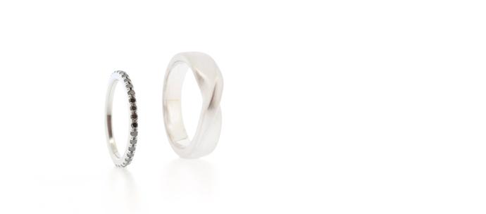 Black diamond and platinum wedding ring