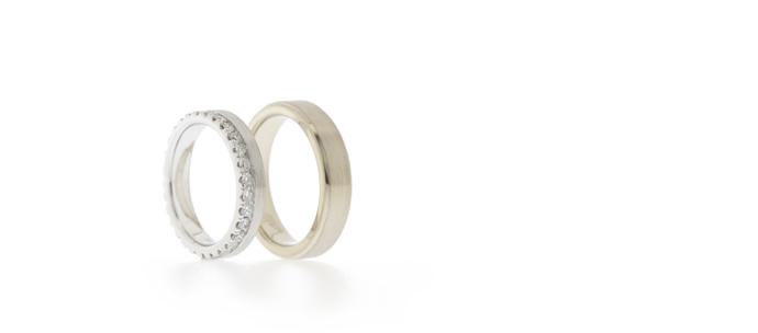 Brushed finish wedding rings