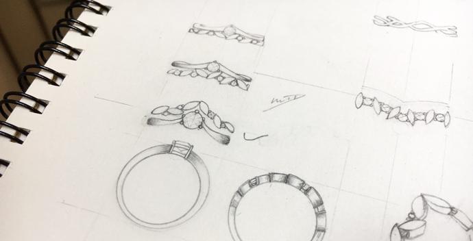 V-shaped wedding ring sketch