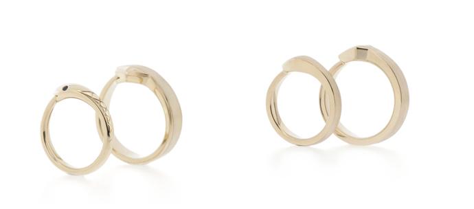 Custom designed ouroboros rings