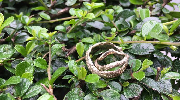 Custom made branch-inspired wedding rings