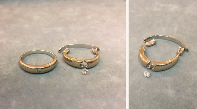 Wedding ring with diamond for repair