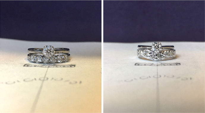 Redesign before and after diamond wedding ring