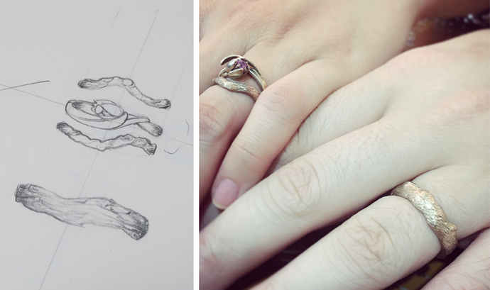 Textured wedding rings look like branches