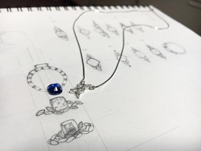 Custom designing Sapphire ring with marquise diamonds