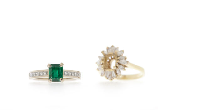 Emerald engagement ring from grandmothers ring