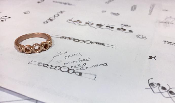 Sketch planning wedding ring design