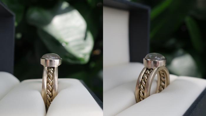 Moonstone engagement and wedding ring set