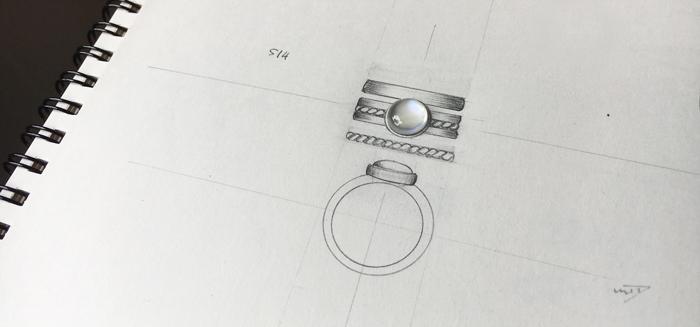 Moonstone on sketch