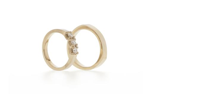 Custom designed pair of wedding rings
