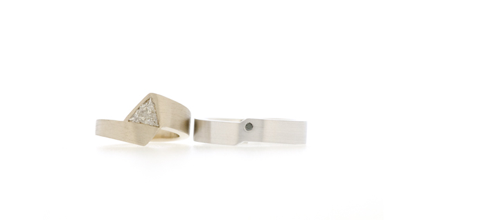 Trillion cut diamond in engagement ring