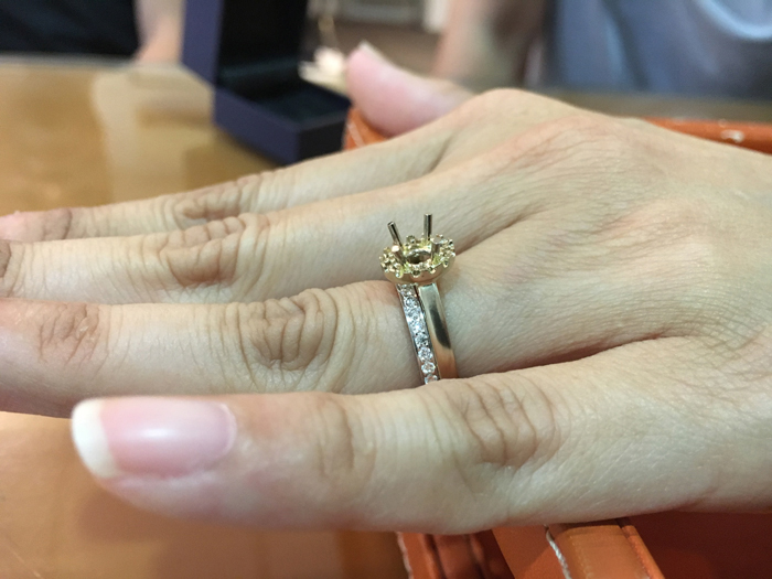 Trying on custom made ring