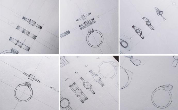 Engagement ring design sketches