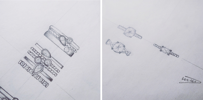 Stackable engagement ring sketches