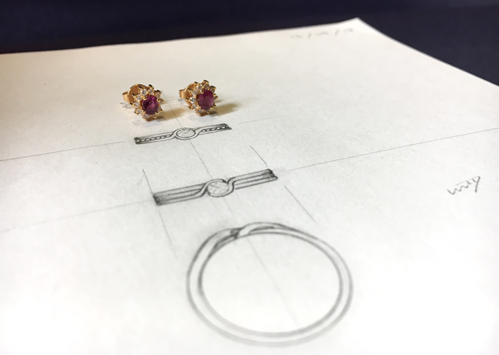 Ruby earrings with redesign sketch