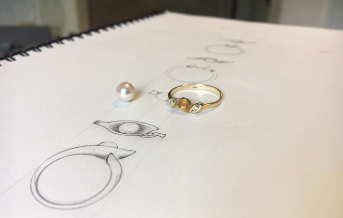 Sketch of new pearl ring design