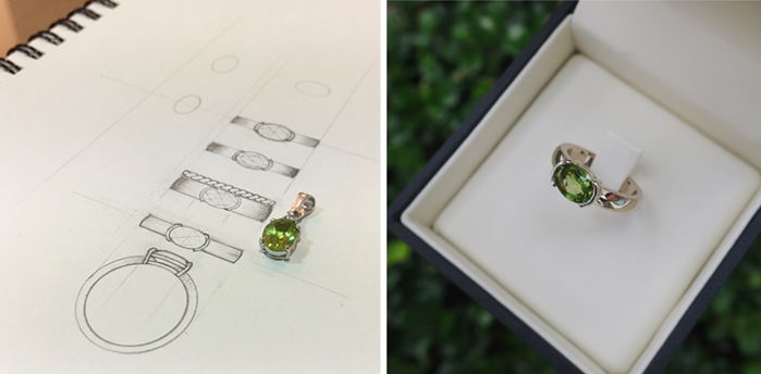 Peridot pendant redesigned into modern ring
