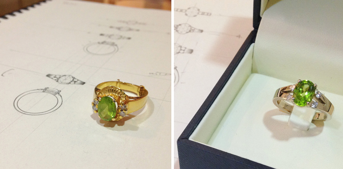 Redesigning peridot ring into new engagement ring