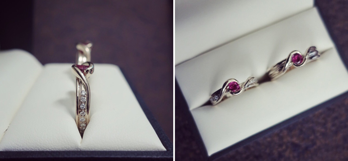 Wedding rings with ruby from old earrings