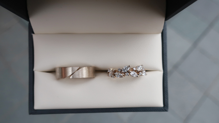 Wedding rings with marquise diamonds