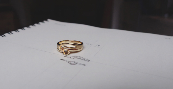 Modern set of engagement and wedding rings