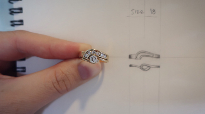 Engagement and wedding ring set with new design sketch