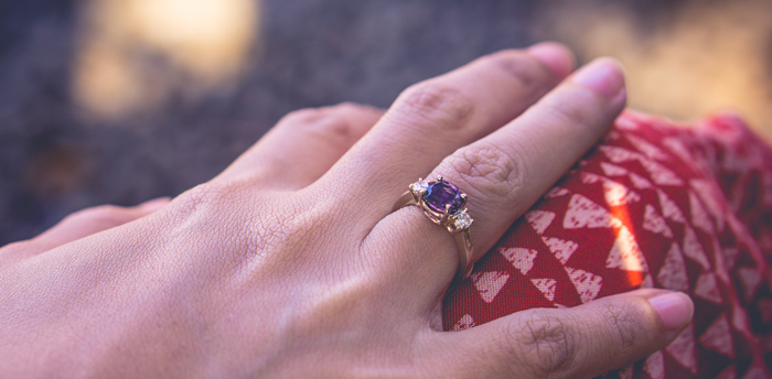 Purple Spinel Engagement ring with side diamonds