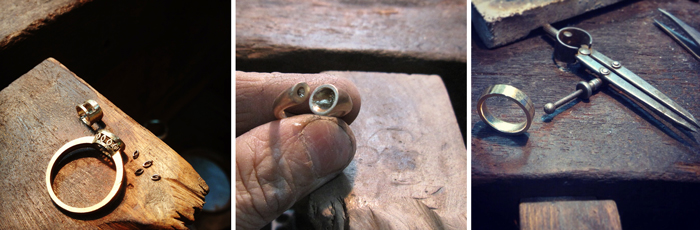 Custom made rings at the workshop