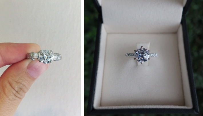 Diamond ring in old and new setting