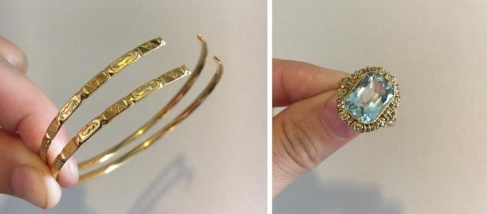 Redesigning bangle and Aquamarine ring