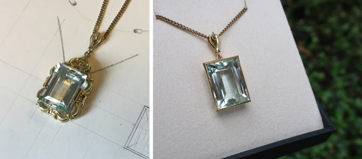 Aquamarine pendant before and after
