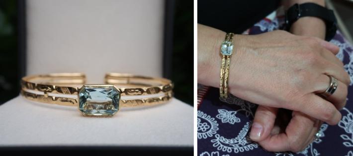 Gold bangle with inherited Aquamarine