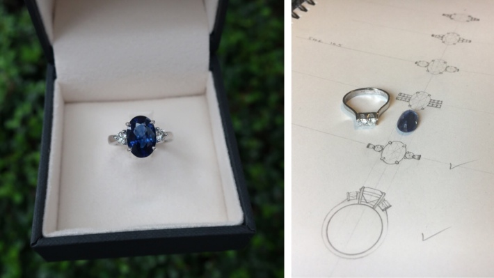 Engagement ring with Sapphire and side diamonds