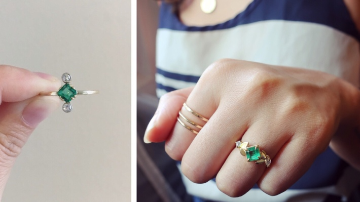 Emerald Engagement Ring before and after redesign