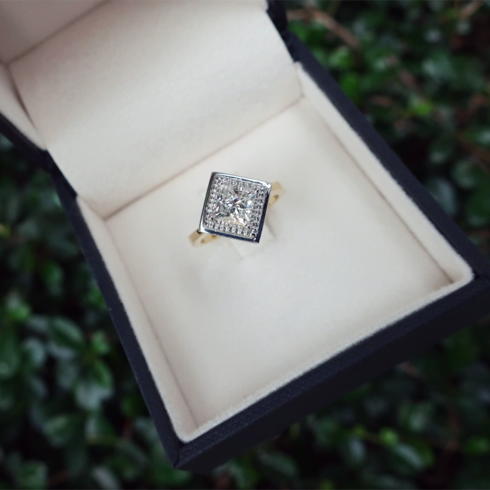 Princess cut engagement ring in 2-tone